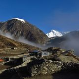 Distant view of snow capped Mount Cho Oyu. stock photos