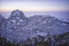 Distant view of Snowy mountain huangshan Royalty Free Stock Photography