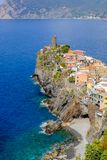 Distant view of Vernazza village, Italy. Royalty Free Stock Photography