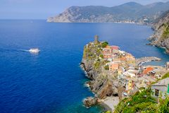 Distant view of Vernazza village, Italy. Royalty Free Stock Photo