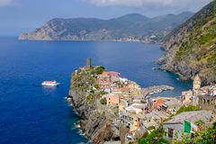 Distant view of Vernazza village, Italy. Stock Image