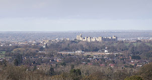 Distant view of Windsor Castle Stock Photo