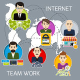 Distant work of freelancers on a joint project Royalty Free Stock Image