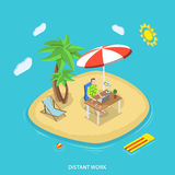 Distant work isometric flat vector concept. Royalty Free Stock Photos