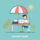 Distant work Linear Flat laptop resort vector free Royalty Free Stock Images