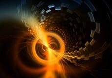 Distante irradie a esfera da energia que emite-se raios fumarentos e partículas Imagens de Stock Royalty Free