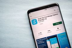 Distanza in miglia di andatura, spesa & App esenti da imposte del ceppo della ricevuta fotografie stock