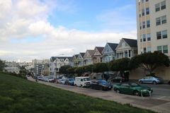 Distelfalter House in San Francisco stockbilder