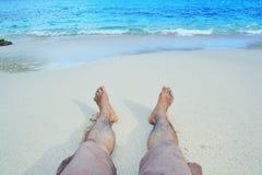 Distenda in spiaggia Fotografia Stock Libera da Diritti