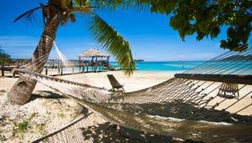 Distenda su una spiaggia tropicale! Immagine Stock