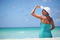 Distenda sulla spiaggia caraibica Fotografia Stock Libera da Diritti