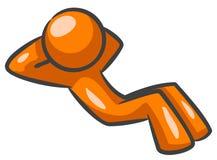 Distensione arancione dell'uomo Immagine Stock