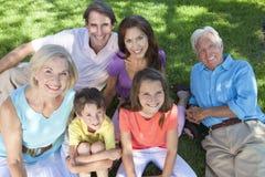 Distensione della famiglia dei bambini dei nonni dei genitori immagini stock