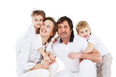 distensione domestica felice della famiglia Fotografie Stock