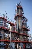 Distillation columns on the fuel production Stock Photo