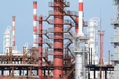 Distillation columns, pipes and other equipment furnaces refinery. Stock Photo