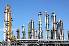 Distillation towers. At a refinery Royalty Free Stock Image