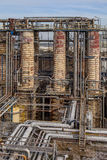 Distillation Towers in an Oil Refinery Stock Photography