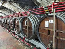Distillery production process. Underground wine cellars with the oak casks stock photos