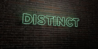 DISTINCT -Realistic Neon Sign on Brick Wall background - 3D rendered royalty free stock image Royalty Free Stock Photography