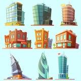 Distinctieve moderne en oude geplaatste gebouwenpictogrammen royalty-vrije illustratie