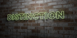 DISTINCTION - Glowing Neon Sign on stonework wall - 3D rendered royalty free stock illustration Stock Images