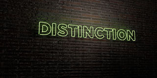 DISTINCTION -Realistic Neon Sign on Brick Wall background - 3D rendered royalty free stock image Royalty Free Stock Photos
