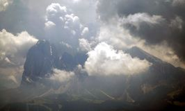 Distinctive dolomite mountain group mystic clouds Royalty Free Stock Photography