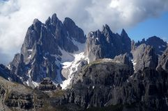 Distinctive dolomite mountains in south tyrol Stock Images
