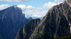 Distinctive dolomite mountains in south tyrol Royalty Free Stock Photos