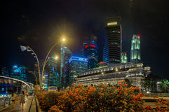 Distinctive Modern Architecture of Singapore's Night Time Skylin. SINGAPORE - CIRCA JAN 2015: Distinctive Modern Architecture of Singapore's Night Time Skyline Royalty Free Stock Photography