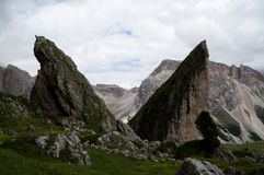 Distinctive Mountain rock formation in south tyrol / pieralongia rocks Royalty Free Stock Image