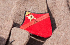 Distinctive sign on an old greatcoat of russian red army Royalty Free Stock Photos