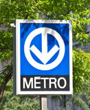 Distinctive signage for the Montreal Metro subway system Royalty Free Stock Photos