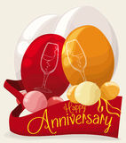 Distinguished Decoration with Balloons and Ribbons for the Anniversary Party, Vector Illustration. Distinguished decoration with a couple of double bubble Royalty Free Stock Images
