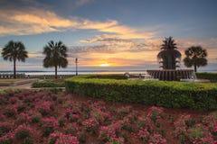 Charleston SC Pineapple Fountain at Sunrise Royalty Free Stock Photo