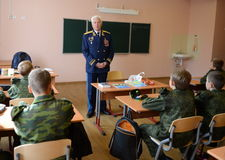 Distinguished Soviet military pilot, Colonel-General Nikolai Moskvitelev a lesson of Courage in the cadet corps. Stock Photo