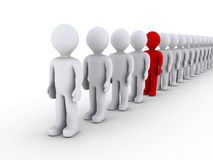 Distinguishing in a line of people. 3d people in line and one is different in color Stock Photos