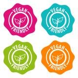 Distintivi amichevoli del vegano Vettore Eps10 Immagine Stock