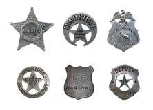 Distintivi Assorted dello sceriffo e della polizia Fotografia Stock Libera da Diritti