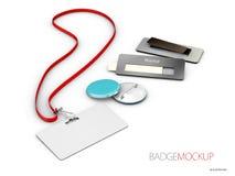 Distintivi bianchi e rossi in bianco Bottone di Pin modello realistico dell'illustrazione 3d immagini stock
