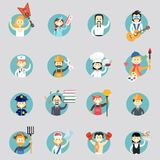 Distintivi con gli avatar delle professioni differenti Immagini Stock