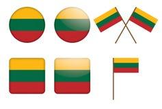 Distintivi con la bandierina della Lituania Fotografia Stock