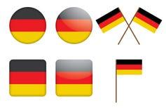 Distintivi con la bandierina tedesca Fotografia Stock Libera da Diritti