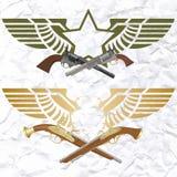 Distintivi con le ali e le armi Fotografia Stock Libera da Diritti