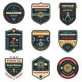 Distintivi d'annata dell'officina Immagine Stock