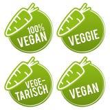 Distintivi dei bottoni del vegano messi con l'icona illustrazione di stock
