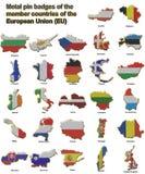 Distintivi del perno di metallo dei paesi di Ue Fotografie Stock