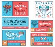 Distintivi del vino ed insieme colorato B delle icone Fotografia Stock Libera da Diritti
