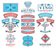 Distintivi del vino ed insieme colorato C delle icone Fotografia Stock Libera da Diritti